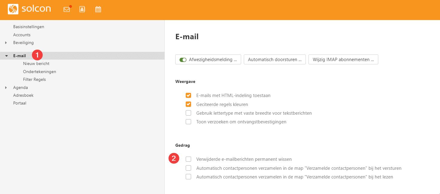 Verwijderde e-mailberichten permanent wissen